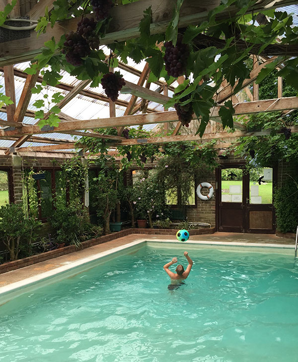 Our indoor pool is an all over glass house and is festooned with exotic plants that thrive in its warm humid atmosphere it is heated all year round and is