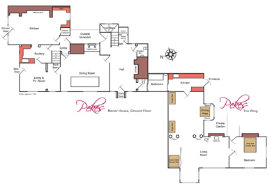 Ground Floor Plan of Pekes Manor and The Wing