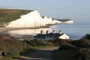 Around Pekes: The Seven Sisters cliffs and Coastguard Cottages from Seaford Head.